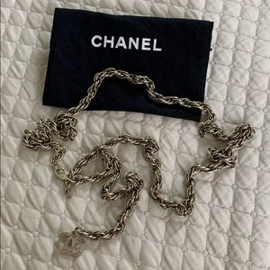 CHANEL Silver Waist Belt with CC logo